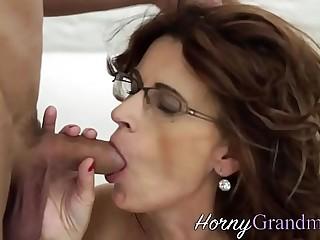 Granny in glasses creamed