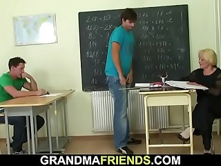 Very old granny blonde teacher swallows two cocks