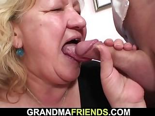 Busty fat grandma guzzles ?2 cocks at once