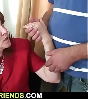 Busty old granny takes it from both sides