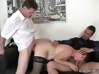 Office mature woman enjoys ?2 mushy