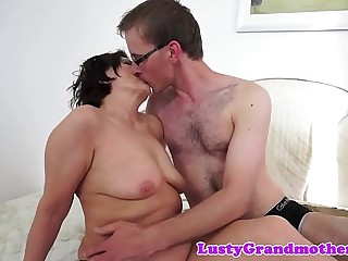 Grandmas hairy beaver fucked and creampied