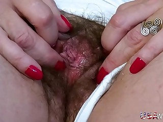 USAwives Old Grandma Carmen Wooly Pussy Fingering