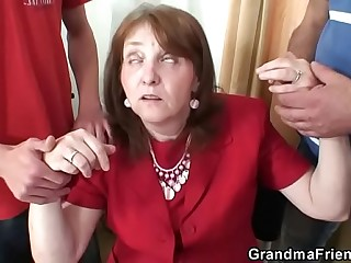 Two fresh cocks for office granny