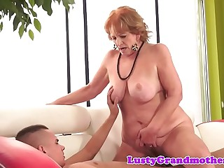 Chubby granny sucking cock after railing it