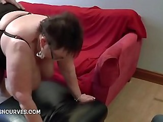 Busty granny fucked by muscle guy