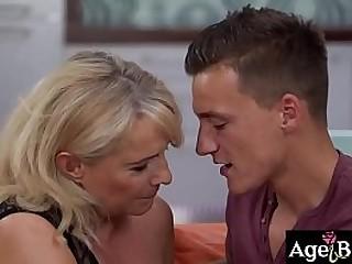 Horny granny Jana takes Dom's big hard hard-on