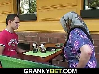 Big hooters granny rides his cock