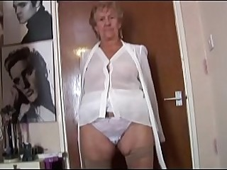 Granny in shear lingerie stripping