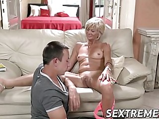 Light-haired granny needs a young hard cock