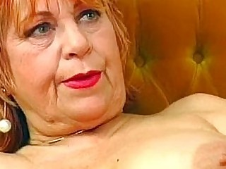 Granny wanks with a banana
