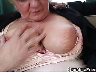 Boozed light-haired granny threesome