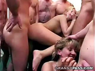 Granny Eats Jism After Gangbang