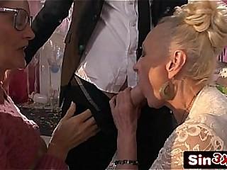 Ultra-kinky Italian Talent Show Hard-core Fucktory - Outrageous Double Granny Blowjob
