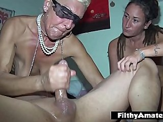 The wealthy old chick participates in amateur orgy