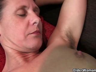 Granny Inge gets fingered up her total bushed pussy