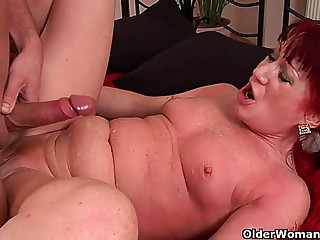 Red hot granny with small boobs rides hard-on