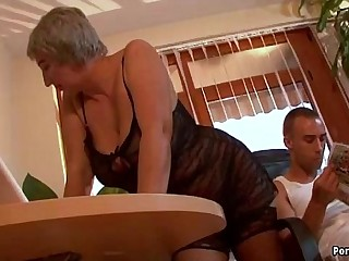 Buxomy granny wants young hard-on