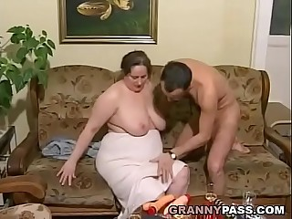 German BBW Granny Loves Youthful Dick