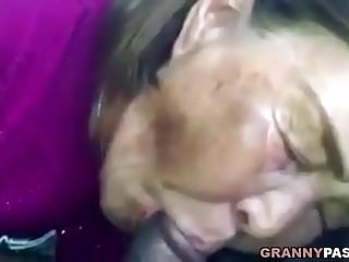 Asian Granny Sucks Dark-hued Cock In The Car