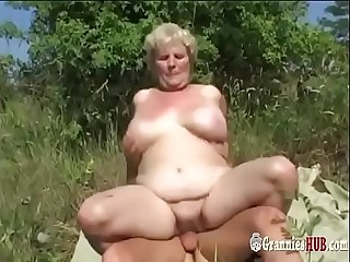 Chubby Granny Blonde With Huge Tits And Her Youthfull Lover Nail Outdoor