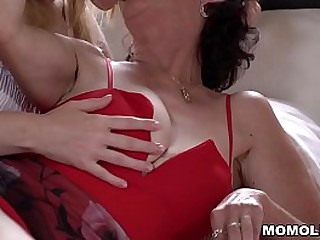 Old and lusty granny Pixie licking youthfull pussy