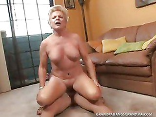 BBW Granny Champagne Big Dicked In Her Sleekly Shaved Vagina