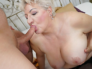 Brief Haired Round GILF Swallows Young Boy