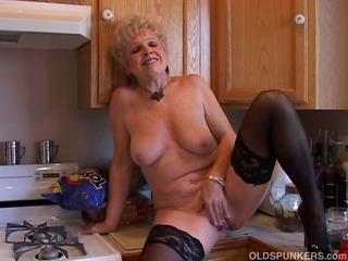 Very sexy grandma has a soddening wet pussy