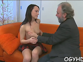 Youthful ultra-cutie licked by an old boy