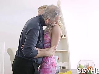 Steaming juvenile playgirl copulates old endowed