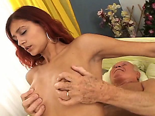 Redhead stunner engulfing puckered ramrod and then riding stud on top