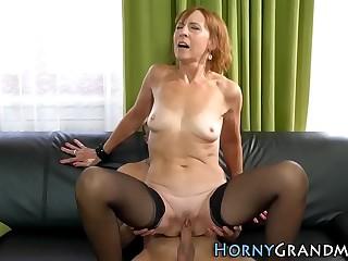 Stockinged granny gets pounded