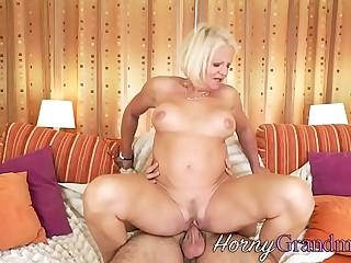 Grandmother deep throats cock