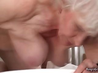 Gray haired grandma gets fucked