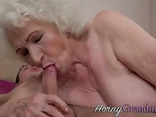 Hairy granny jizz faced