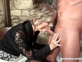 old and young, granny and nephew enjoy oral sex