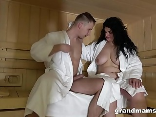 Huge grandma rails young lover in the sauna