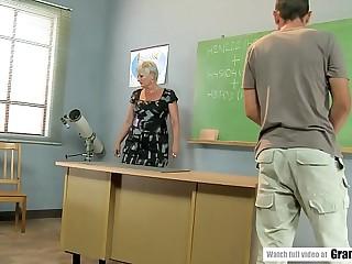 Crank student pounds mature teacher