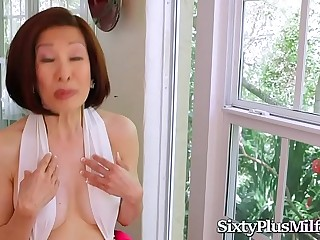 Asian Granny Enjoys Anal With 2 Hard Cocks