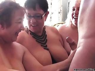 Three hot Plumper moms play with cock